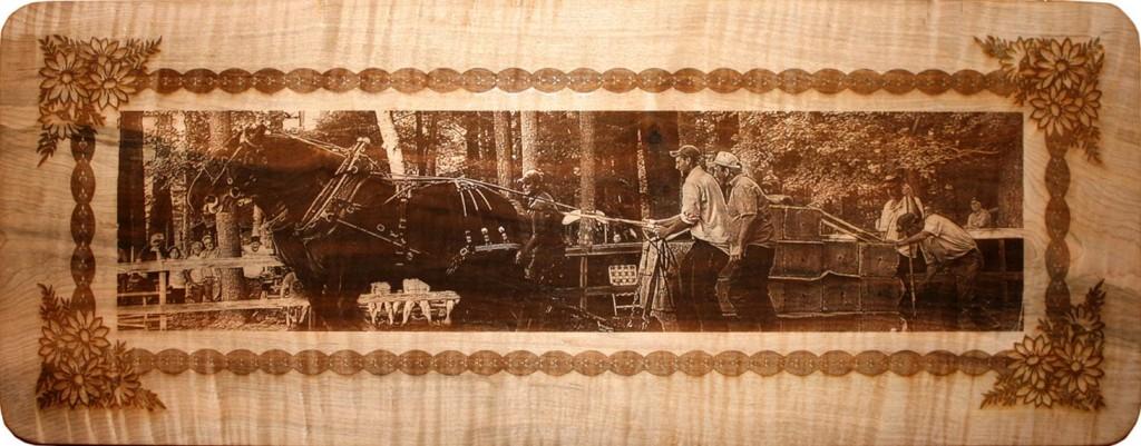 Custom Laser Engraved Horse Pull Wood Sign